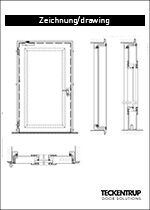 "Technical drawing sound-insulated door ""dw 67-1"""